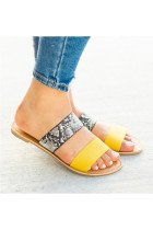 Yellow Snake Print Flat Slippers
