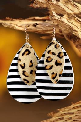 Leopard Striped Dual-Layered PU Leather Earrings