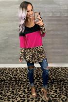 Rose Colorblock Leopard Triple Patchwork Long Sleeve Top