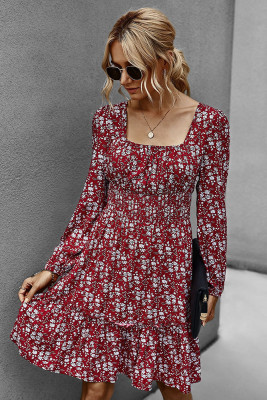 Wine Red Floral Dress