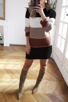 Colorblock Mini Sweater Dresses