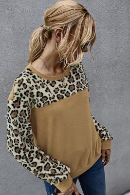 Brown Leopard Contrast Fleece Sweatshirt