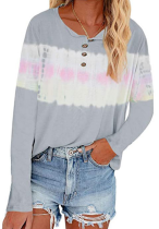 Tie Dye Buttoned Plus Size Tops
