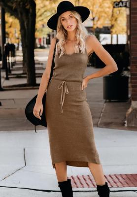 Brown Knit Fit V Neck Dresses