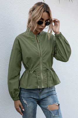 Solid Collarless Coat