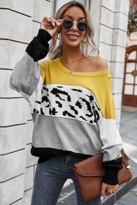 Yellow Color Block Leopard Sweater