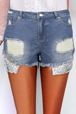 Ember Silver Sequin Pocket Denim Shorts