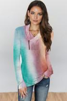 Purple Tie-dye Print Zipper Pullover Top