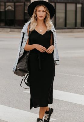 Black Knit Fit V Neck Dresses
