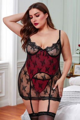 Red Plus Size Two-layer Lace Chemise