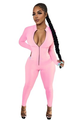 Solid Zip Up Tight One Piece Jumpsuits