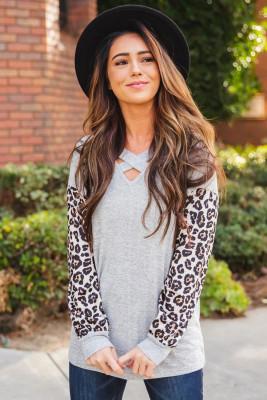 Gray Crisscross V Neck Leopard Sleeve Blouse
