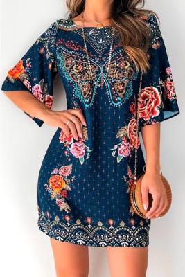 Blue 3/4 Sleeve Butterfly Floral Short Dress