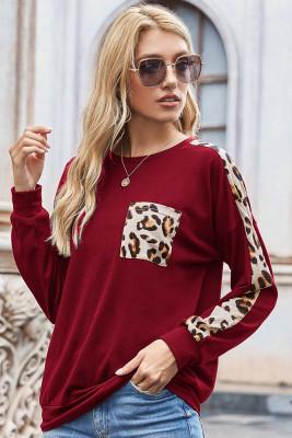 Wine Red Leopard Print Sweatshirt
