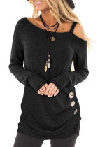 Black Asymmetric Cold Shoulder Buttoned Side Top