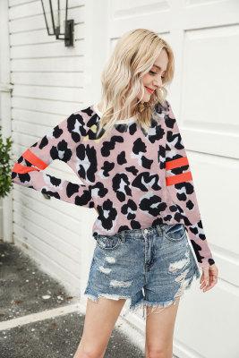 Pink Leopard Long Sleeve Tops