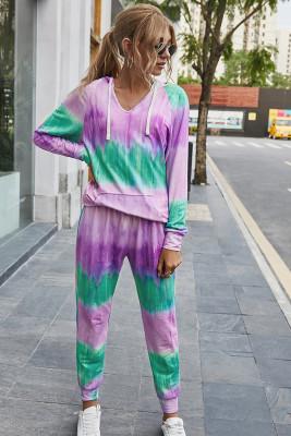Purple Tie Dye Two Piece Set Outfits