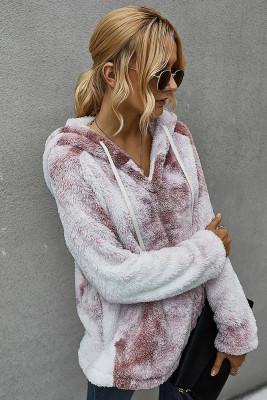 Dark Purple Tie-dye Hooded Coral Fluffy Sweatshirt