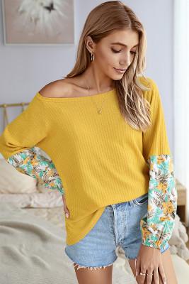 Yellow Tie Dye Patchwork Long Sleeve Top