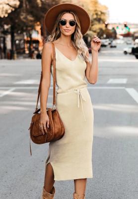 Apricot Knit Fit V Neck Dresses