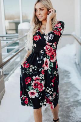 Black Floral 3/4 Sleeve Wrap Dress