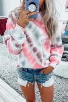 Pink Casual Tie-dye Round Neck Sweatshirt