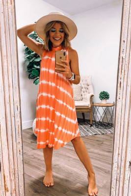 Orange Tie-dye Tank Dress