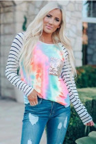 Sequin Pocket Tie-dye Panel Striped Sleeve Top