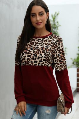 Wine Red Leopard Patchwork Sweatshirt