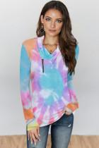 Sky Blue Tie-dye Print Zipper Pullover Top