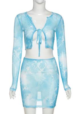 Tie Dye High Waist Mesh Skirt Set