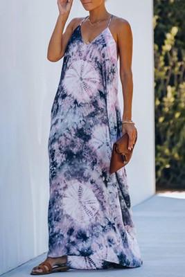 Blue Tie-dye Drape Maxi Dress