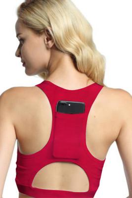 Red Back Pocket Sport Bra