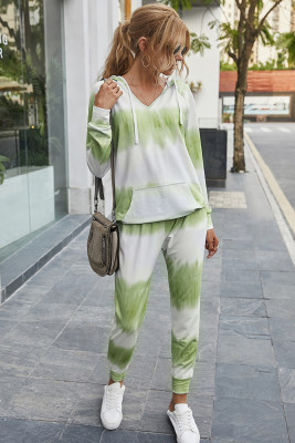 Green Tie Dye Two Piece Set Outfits
