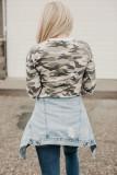 Long Sleeve Cutout V Neck Camo Top