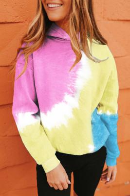 Pink Colorblock Tie-dye Hoodie