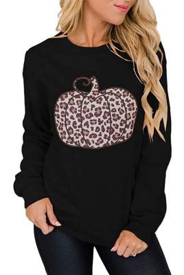 Halloween Pumpkin Leopard Pullover