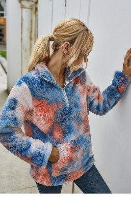 Blue Tie Dye Sweatershirt with Pocket