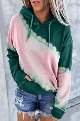 Green Hooded Tie Dye Print Pocket Casual Sweatshirt