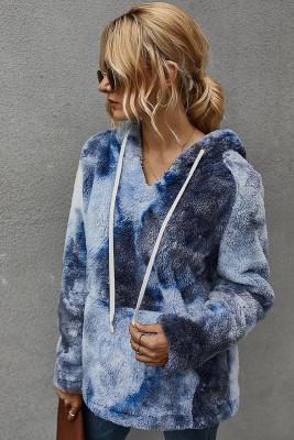 Dark Blue Tie-dye Hooded Coral Fluffy Sweatshirt