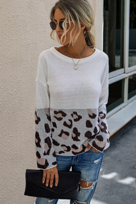 White Leopard Patchwork Pullover Sweaters