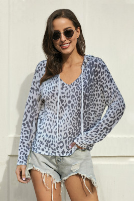 Gray Leopard Boxy Fit Hoodie