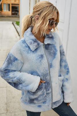 Tie Dye Fleece Sweater Fluffy Coat with Pocket
