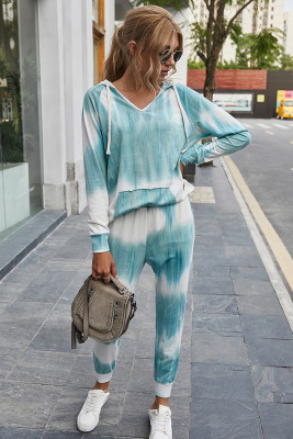 Blue Tie Dye Two Piece Set Outfits