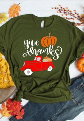 Pumpkin Print Thanksgiving Top