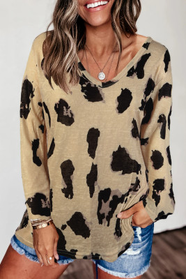Long Sleeves Leopard Print Blouse
