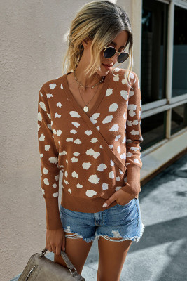 Orange Leopard Pullover Sweater