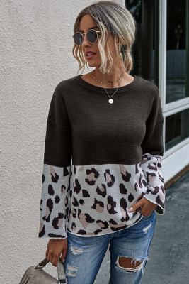 Black Leopard Patchwork Pullover Sweaters