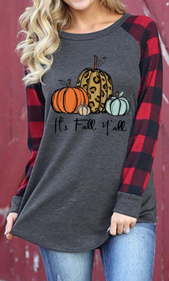 Halloween Pumpkin Plaid Sleeve Top