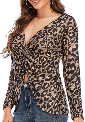Leopard Pullover Loose V Neck Tops